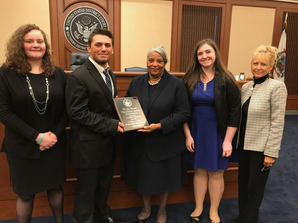 "Julia Holcomb, Tyler Cummings, Judge Irene Burger, Kelsey Prather, and the ""We the People"" State Director"